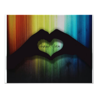 Thank you Hand Hearts With Rainbow Wood Card