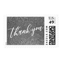 Thank You Hand Lettered Font over Silver Glitter Postage