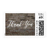 Thank You, Hand-Lettered Font & Vintage Brick Wall Postage