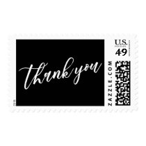 Thank You Hand Lettered Font, White on Black Postage