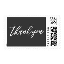 Thank You Hand Lettered Font, White on Dark Gray Postage