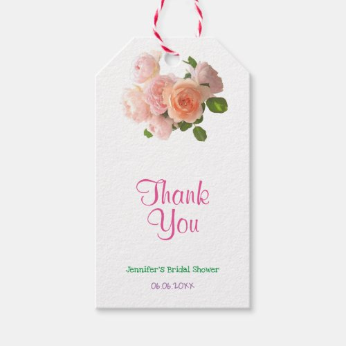 Thank You Handwritten Text Watercolor Roses Modern Gift Tags