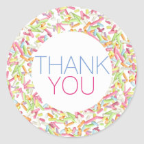 thank you happy rainbow sprinkles classic round sticker