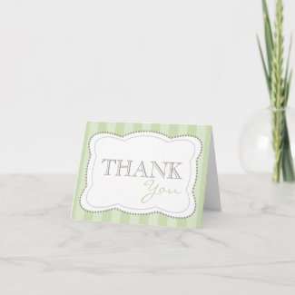 Thank You Happy Stripes Notecards (Sage Green) card