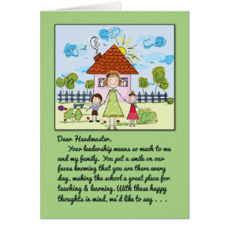 Thank You Headmaster-You Put a Smile on Our Faces Card