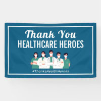 Thank You Health Care Heroes Nurse Doctor Workers Banner