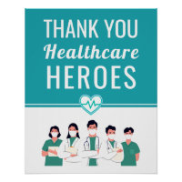 Thank You Health Care Workers Medical Sign Poster