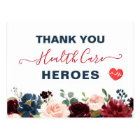 Thank You Healthcare Heroes Burgundy Navy Floral Postcard