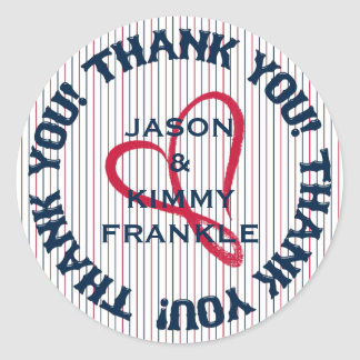 Thank You Heart 1-Round Stickers-Envelope Seals