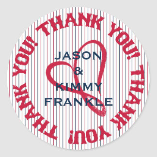 Thank You Heart 4-Round Stickers-Envelope Seals