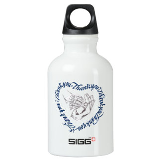 Thank you heart, graphite shell aluminum water bottle