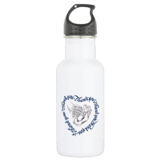 Thank you heart, graphite shell water bottle