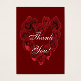 Thank You - Heart of Red Roses - Small Card Thanks