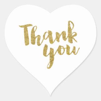 THANK YOU HEART SEAL modern script gold glitter Heart Sticker