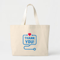 Thank You | Heart Stethoscope Large Tote Bag