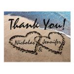 Thank You Hearts In Sand Wedding Beach Postcard