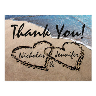 Thank You Hearts In Sand Wedding Beach Postcard