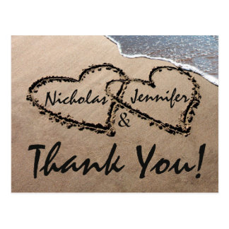 Thank You Hearts Written In Sand Wedding Postcard