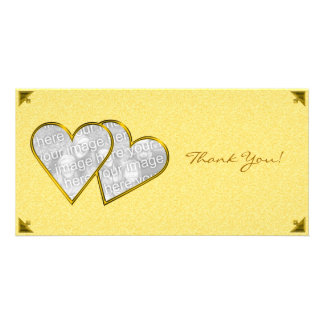 Thank You Hearts Yellow Damask Photo Card Template