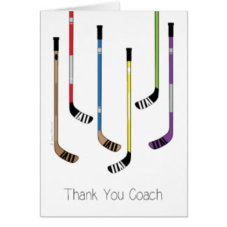Thank You Hockey Coach Hockey Sticks Greeting Card