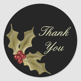 """""""Thank You"""" - Holly Berries Classic Round Sticker"""