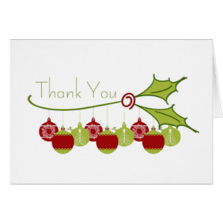 Thank You Holly Ornaments Greeting Cards
