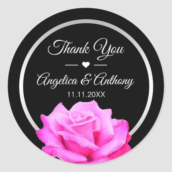 Thank You Hot Pink Fushia Rose Wedding Seals