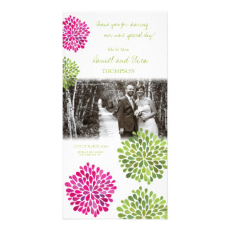 Thank You Hot Pink & Green Blooms Wedding Photo Personalized Photo Card