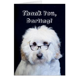 THANK YOU - HUMOR W/DOG/BLACK-RIM GLASSES CARD