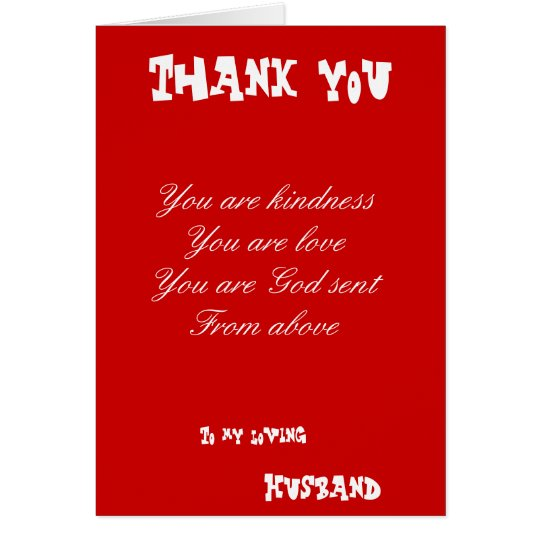 thank you husband greetings cards  zazzle