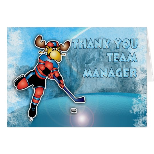 Thank You Ice Hockey Team Manager Card