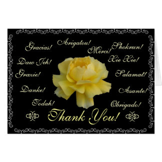 Thank you in 13 languages yellow rose stationery note card
