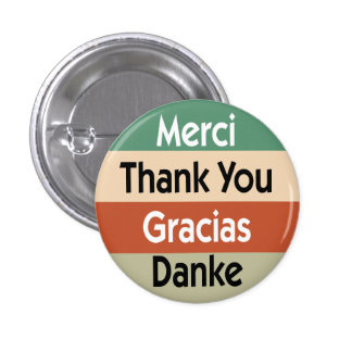 Thank you in 4 languages pinback button