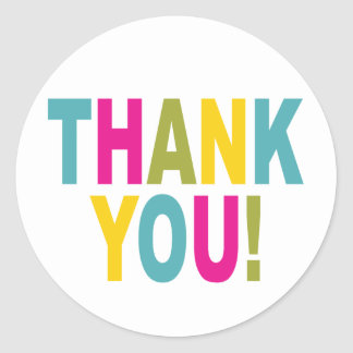 Thank You in bright colors Classic Round Sticker