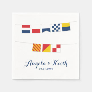 THANK YOU in Colorful Nautical Flags Napkin