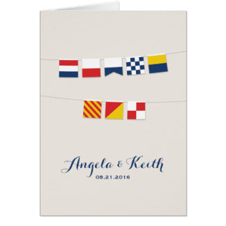 THANK YOU in Colorful Nautical Flags Stationery Note Card