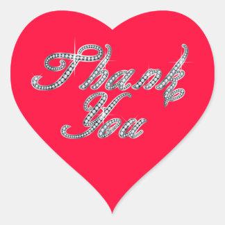 Thank You in Faux-Diamond Bling Script Heart Sticker