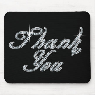 Thank You in Faux-Diamond Bling Script Mouse Pad