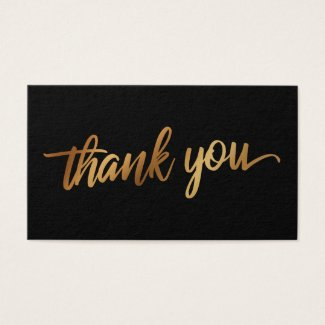 Thank You in Faux Smooth Gold Script Wedding Favor