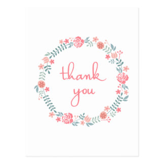 thank you in floral laurel wreath postcard