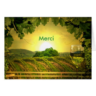 Thank you in French Merci, merci beaucoup, Wine Greeting Card