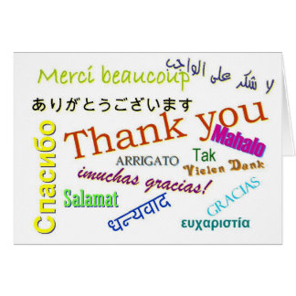 Thank you in Many Different Languages Card