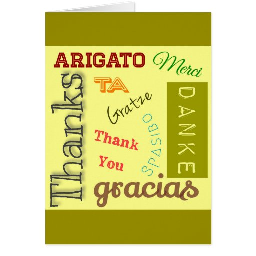 Thank You In Many Languages Typography Design Card Zazzle