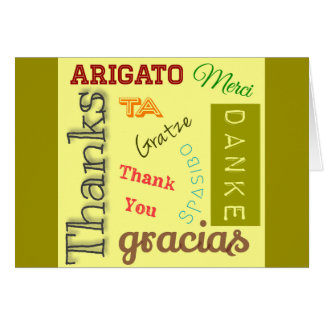 Thank You in Many Languages Typography Design Stationery Note Card