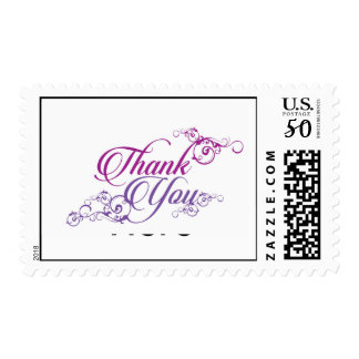 Thank You in Purple Elegant Script Postage