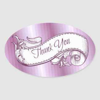 """Thank You"" in purple Sticker/Seal Oval Sticker"