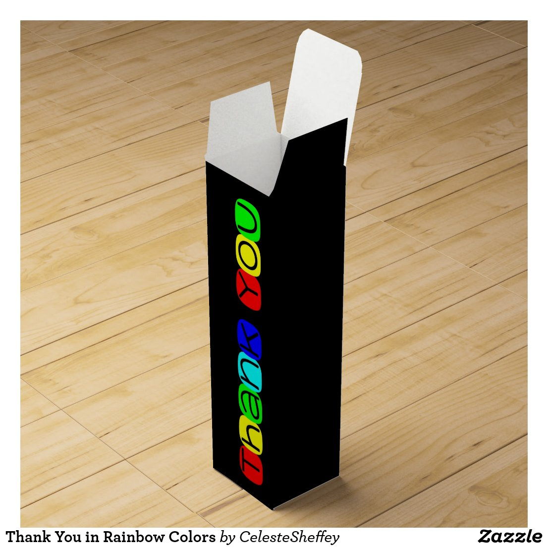 Thank You in Rainbow Colors Wine Box