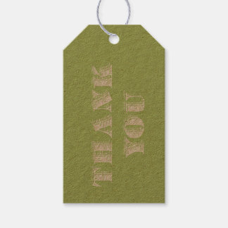 Thank You in Rustic Woodcut Typography Green Gift Tags