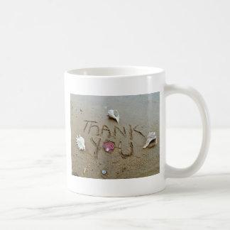Thank you in the sand shells & beach coffee mug