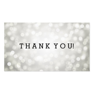 Thank You Insert Silver Glitter Lights Double-Sided Standard Business Cards (Pack Of 100)